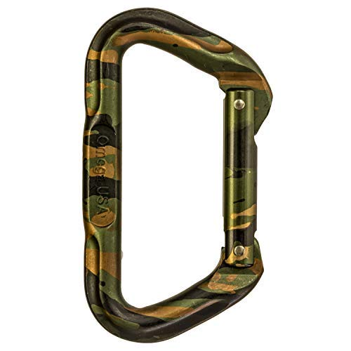 Omega Pacific Non Locking Climbing Carabiner, D, Straight Gate, Camouflage, Rock Climbing Gear and Equipment, Safety, Rescue, Industrial, and Arborist - Pacific Camo