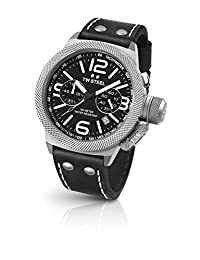 TW Steel Men's 'Canteen' Quartz Stainless Steel and Leather Dress Watch, Color:Black (Model: CS4)