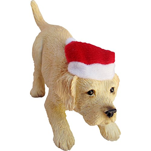 (Sandicast Yellow Labrador Retriever with Santa Hat Christmas)