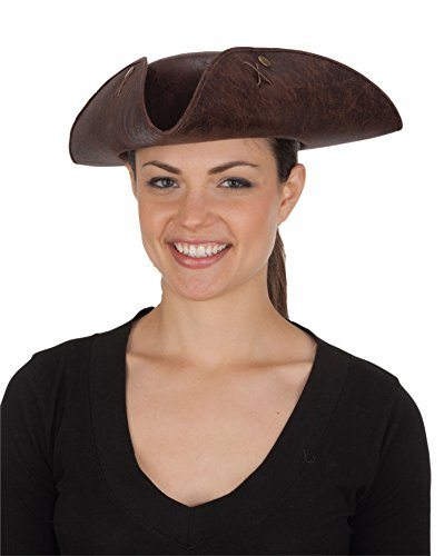 [J26014 Brown Tricorne Hat Distressed Felt NEW] (Scallywag Pirate Costume)