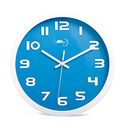 FortuneVin Wall Clock Non-ticking Number Quartz Wall Clock Living Room Decorative Indoor Clock Bedroom Clock Kitchen Clock 12-Inch Modern Simple Mute Creative Circle, Stereo Digital Sky Blue