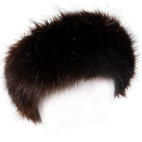 FAITH YN Faux Fur Headband with Elastic Stretch Women Fur Hat Winter Ear Warmer Earmuff Ski Cold Weather Caps [Brown]