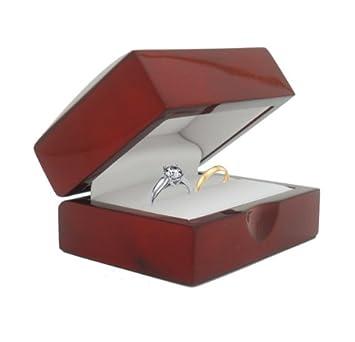 Geff House Cherry Wood Double Ring Jewelry Gift Box