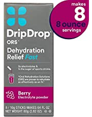 DripDrop ORS Electrolyte Hydration Powder Sticks, Berry Flavor, Makes (8) 8oz Servings