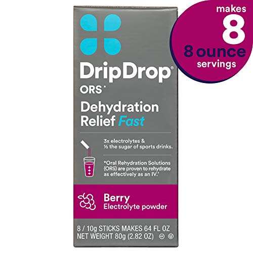 DripDrop ORS Electrolyte Hydration Powder Sticks, Berry Flavor, Makes (8) 8oz Servings