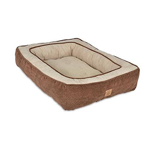 Precision Pet Chevron Chenille Gusset Low Bumper Floor Pillow, 27 by 36-Inch, Chocolate by Petmate