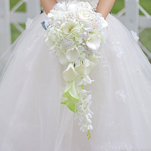 IFFO Calla Lilies Simulation Rose Diamonds Pearl Bride Wedding Bouquet (White)