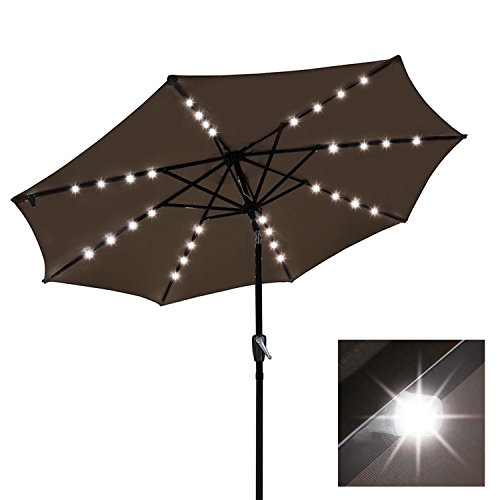 KOVAL INC. 9ft Solar LED Outdoor Market Tilt Patio Umbrella (Chocolate) ()