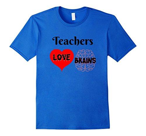 Mens Teachers Love Brains Cute Halloween Gift for Teachers Medium Royal Blue