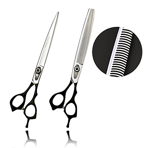 Purple Dragon Professional 8.0 inch Pet Grooming Hair Cutting Scissor and Dog Hair Thinning Shear - Japan 440C Stainless Steel Perfect for Pet Groomer or Family Use (2pcs)