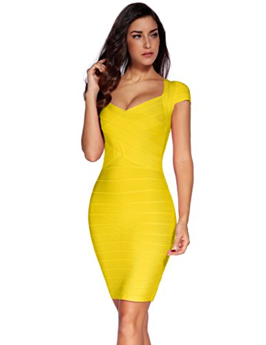 Women's Square Dress Yellow Bandage Meilun Dress Party Neck Bodycon tdqxpn