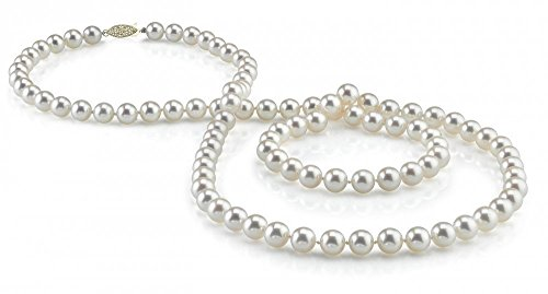 THE PEARL SOURCE 14K Gold 6.5-7.0mm AAAA Quality Round White Freshwater Cultured Pearl Necklace for Women in 51
