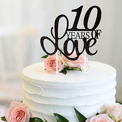 (10 Years of Love Cake Topper 10th Happy Birthday Tenth Wedding Anniversary Love Gifts Keepsake Party Decoration Supplies - 5.9'' x 8.3'' (Black Glitter).)