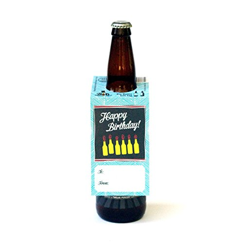 Funny Christmas Gift Tags (Beer Greetings - Big Bottle Gift Tags (Birthday - Set of)