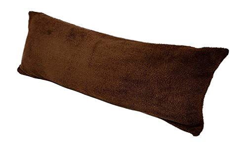 Web Linens Inc Replacement Cover Pillowcase For Any 20 Inch x 54 Inch Body Pillow – Durable Zipper - Super Soft Comfy Cuddly Sherpa Microplush Easy Care Washable - Chocolate