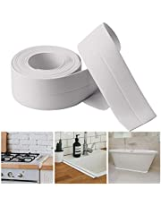 AIEX 327.66X3.81 cm Autoadhesiva de PE de Calafateo Impermeable, para Baño,Fregadero de Cocina,Esquina de Pared (Blanca)