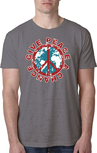 Give Peace a Chance Burnout Shirt, Dark Grey Small