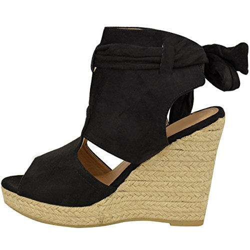 Mode Törstig Kvinna Kil Fotled Spetsar Binda Upp Hög Klack Sommar Sandaler Plattform Storlek Svart Faux Mocka