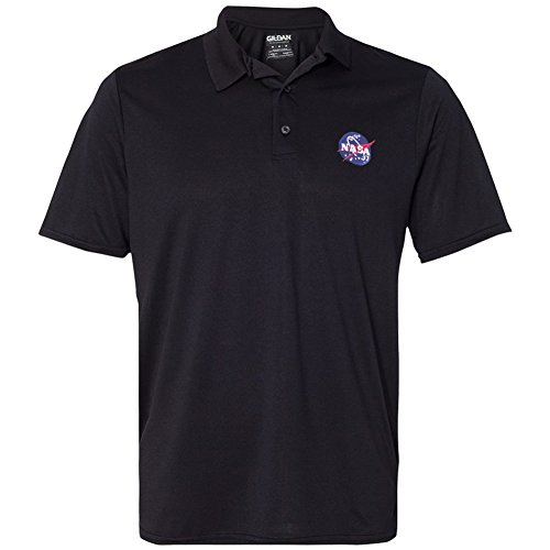 Mens NASA Meatball Embroidered Poly Jersey Sport Shirt - Black - 2XL