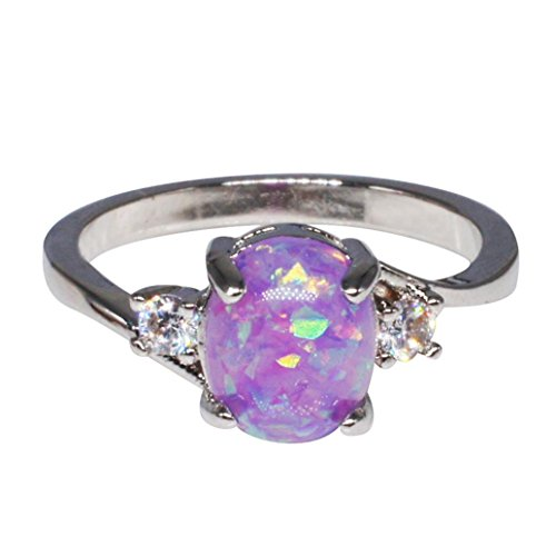 Ring Laimeng Exquisite Women's Sterling Silver Ring Oval Cut Fire Opal Diamond Band Rings (5, Purple) -