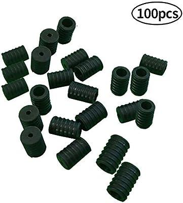 Cord Locks,100//500 Pcs Toggles for Drawstrings,Plastic Silicone Non Slip Stopper Black, 100 pcs