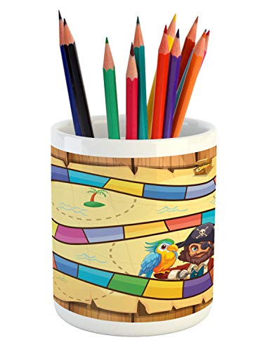 (Ambesonne Nursery Activity Pencil Pen Holder, Treasure Hunt in The Adventure of The Pirate Cove Cartoon Drawing Style, Printed Ceramic Pencil Pen Holder for Desk Office Accessory, Multicolor)