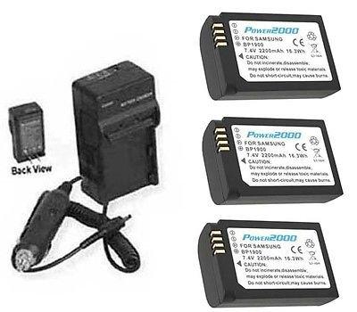 3つ3 x bp-1900、ed-bp1900 /米国、ed-bp1900電池+充電器for Samsung nx1 B01DNACEZM