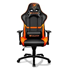 Cougar Armor Comfortable Gaming Chair, Orange/Black - Ergonomic Design, Breathable PVC Leather and adjustable back rest.
