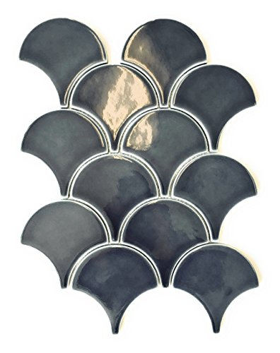 Mandarin Oriental Fan Deep Blue Scalloped Porcelain Mosaic Tile Backsplash