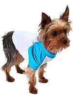 American Apparel White & Neon Heather Blue Poly-Cotton Dog Raglan