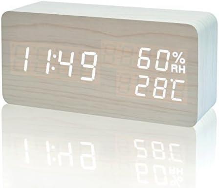 FIBISONIC Réveil Matin Horloge Digitale Alarm Clock Horloge Bois Réveil LED avec Affichage Numérique de TempératureHumiditéCalendrier, Réveil