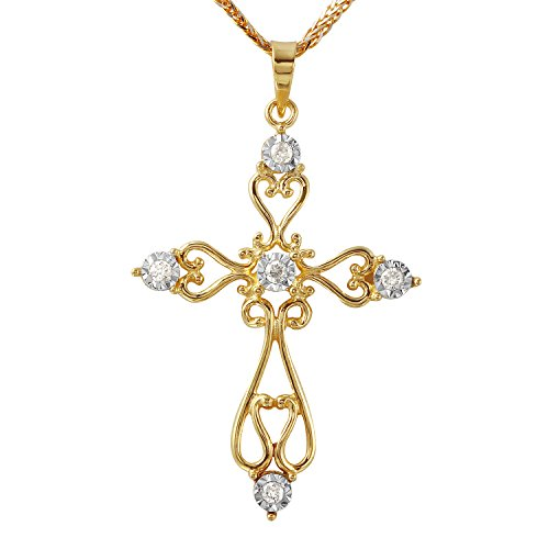 0.12 Carat Natural Diamond 10K Yellow Gold Cross Pendant Necklace for (0.12 Ct Natural)