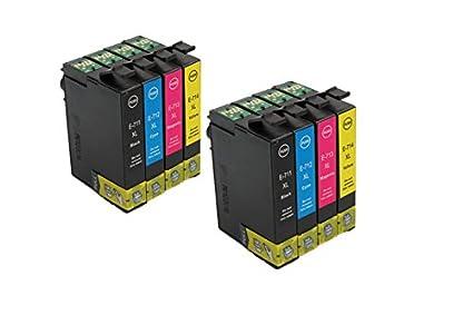 Oro prinker 8 Pack cartuchos de tinta compatibles con Epson T0715 ...