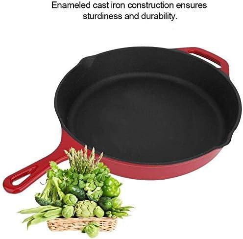 ZGYQGOO Poêle Ronde avec poignée Poêles en Fonte émaillée pour la friture, Les légumes, Les œufs, Le Filet, Le Barbecue tefal poêle antiadhésive