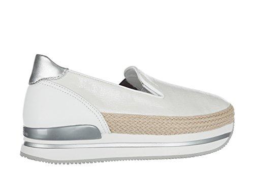 Sneakers Hogan Slip On In Pelle Da Donna H222 Bianco