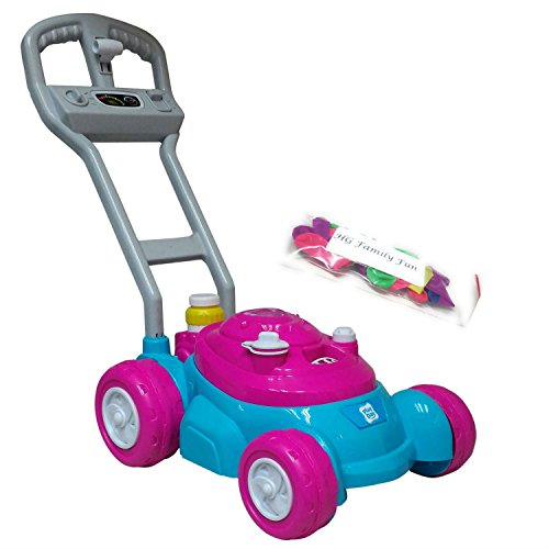 Push N Go Bubble Pink Mower With Bonus 4 Ounce Bottle Of Bubbles And HG Family Fun Water Balloons Pack, Great Bundle
