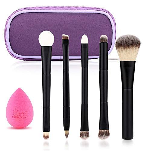 Black Egg Portable Travel Makeup Brush Set Face Eye Blush Powder Angled Kabuki Foundation Concealer Makeup Brushes Kit withBlender Sponge and Brush Cleaner (5 PCS Black)