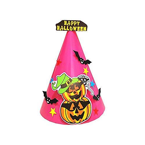 Diy Boo Costume (CapsA Halloween Costumes Witch Wizard Hat for Kids Children Boys Girls Halloween Props Set DIY Halloween Paper Cartoon Cap Child Halloween Ornament)