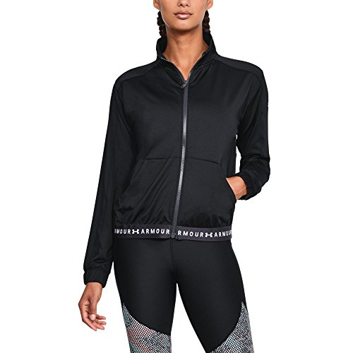 Under Armour Women's HeatGear Armour Full Zip, Black (001)/White, Medium (Women Under Armour Jacket)