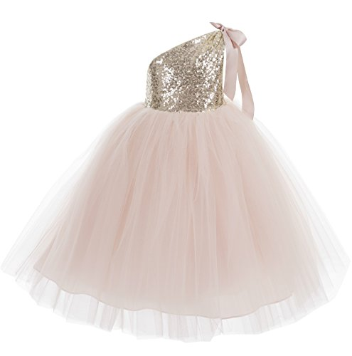 (ekidsbridal One-Shoulder Sequin Tutu Flower Girl Dress Wedding Pageant Dresses Ball Gown Tutu Dresses 182 10)