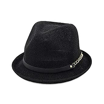 SHENTIANWEI Women Straw Sun Hat Spring Summer Jazz Hat Fedora Hat Sunshade Straw Hat Simple Curling Small Hat (Color : Black, Size : 56-58CM)