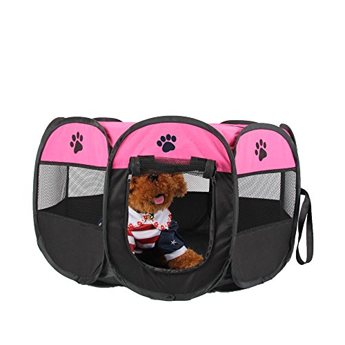 UNFADE MEMORY Portable Foldable Pet Playpen, Indoor/Outdoor, Dog/Cat/Puppy Exercise Pen Kennel, Removable Mesh Shade Cover, Dog pop up Silhouettes pet Pen - Pink, M