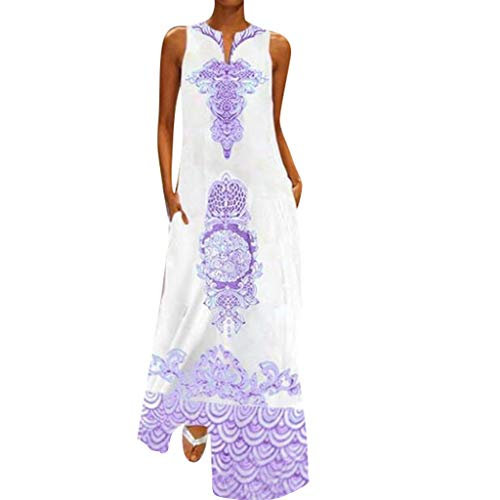 Sunyastor Dress for Women Casual Sleeveless V-Neck Flower Print Maxi Tank Long Dress Hem Baggy Kaftan Casual Dress Purple