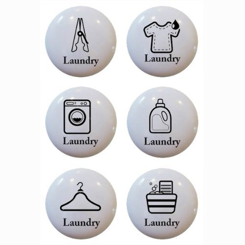 Set of 6 Laundry Theme Ceramic Knobs Pull Kitchen Drawer Cabinet Bar Closet 611