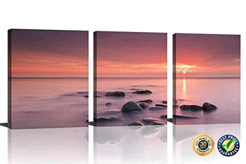 HLJ Art 3 Panel Giclee Seascape Sunset Sea Stone Painting Fire Sky Coast Ocean Picture Printed On Canvas For Home Decor Decoration