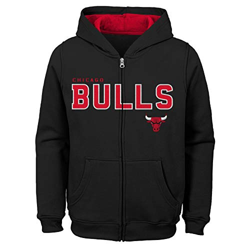 Outerstuff NBA NBA Kids & Youth Boys Chicago Bulls Stated Full Zip Fleece Hoodie, Black, Youth -