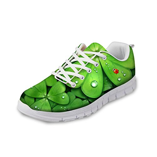 FOR U DESIGNS Green Clover Print Breathable Running Shoe Women Outdoor Sneakers US 8