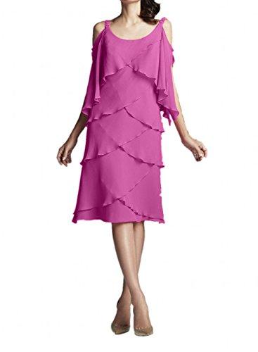 Brautmutterkleider Herrlich La Marie Pink Traube Abendkleider Knielang Ballkleider Kurz Braut Chiffon 7nWnrSx0A