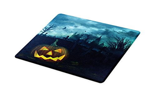 (Lunarable Halloween Cutting Board, Halloween Pumpkin in Spooky Graveyard Eerie Gloomy Stormy Atmosphere, Decorative Tempered Glass Cutting and Serving Board, Small Size, Petrol Blue)