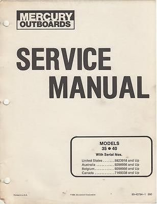 Parts Manual Mercury Outboard (1991 MERCURY OUTBOARD 35 & 40 HP SERVICE MANUAL)